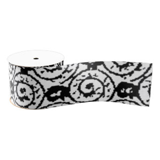 Shells and Flowers Black and White Grosgrain Ribbon