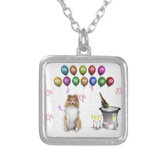 Sheltie Dog Happy New Year Silver Plated Necklace