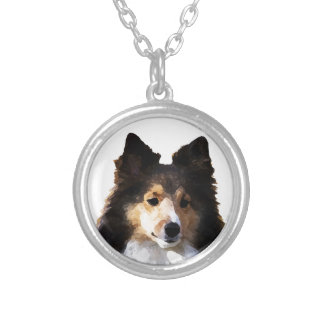 Sheltie Dog painting sketch Silver Plated Necklace