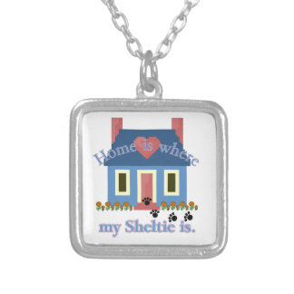 Sheltie Home Is Silver Plated Necklace
