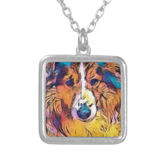 Sheltie image silver plated necklace