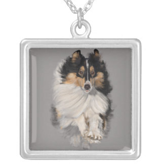 Sheltie on the Move Silver Plated Necklace
