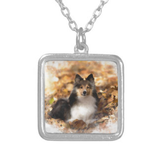 Sheltie Shetland Sheepdog Art Painting Silver Plated Necklace
