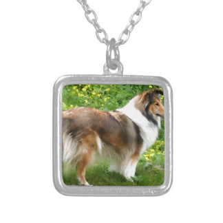Sheltie Shetland Sheepdog Painting Silver Plated Necklace