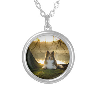 sheltie silver plated necklace