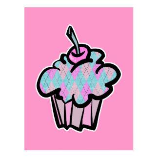 sherbert argyle pattern cupcake postcard