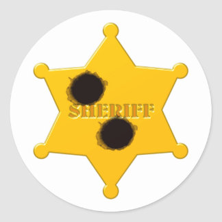 Sheriff star of bullet holes sheriff's star bullet round sticker