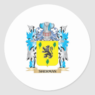 Sherman Coat of Arms - Family Crest Round Sticker