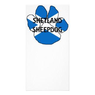 shetland sheepdog name Scotland flag paw Photo Cards