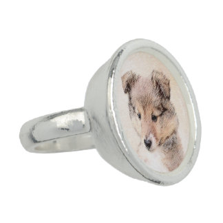 Shetland Sheepdog Puppy Painting Original Dog Art Ring