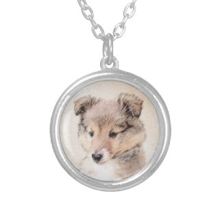 Shetland Sheepdog Puppy Painting Original Dog Art Silver Plated Necklace