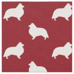 Shetland Sheepdog Silhouettes Pattern Red Fabric