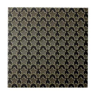 Shimmery Dots In Golden Stars On Black Tile