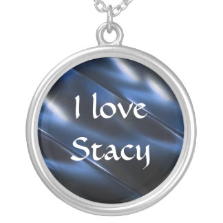 Shine Metallic Blue Abstract Silver Plated Necklace