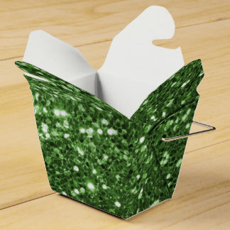Shining Green Faux Glitter Sparkle Pattern Party Favour Box