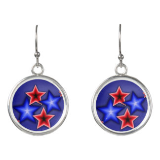 Shiny Blue & Red Stars Earrings