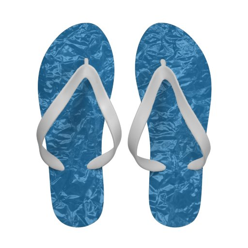 shiny blue wrinkled foil sandals