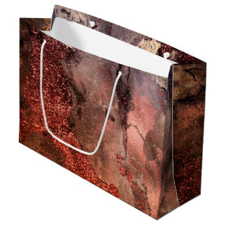 Shiny Copper Gold Glitter Ink Emerald Marble Large Gift Bag