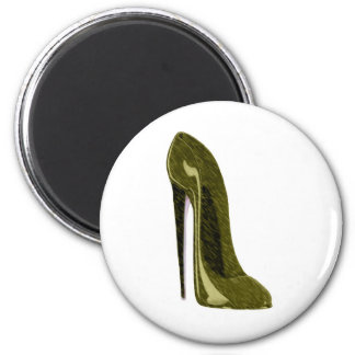 Shiny Gold Stiletto Shoe Refrigerator Magnets