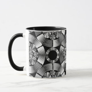 Shiny metallic damask mug