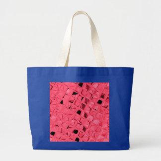 Shiny Metallic Red Diamond Serpentine Royal Blue Large Tote Bag