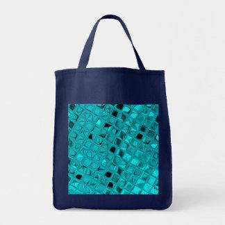 Shiny Metallic Teal Diamond Sassy Reusable Navy Tote Bag