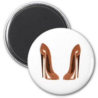Shiny Orange Speckled Stiletto Shoes Fridge Magnets