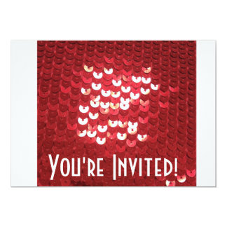 Shiny Red Sequins 5x7 Paper Invitation Card