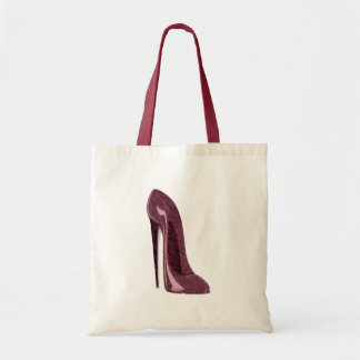 Shiny Ruby Red Stiletto Shoe Tote Bag