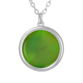 Shiny Shimmering Lime Green Silver Plated Necklace