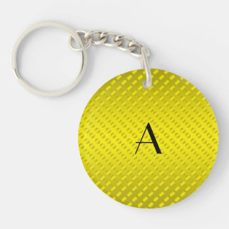 Shiny Yellow polka dots monogram Keychain