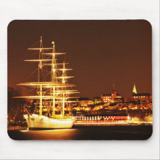 Ship at night in Stockholm, Sweden Mouse Pad
