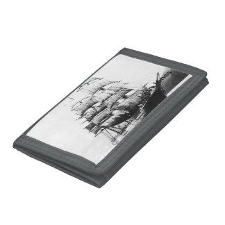 Ship Black and White Trifold Wallet