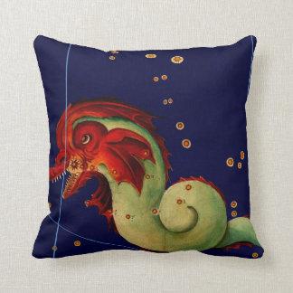 Ship Hunting Sea Serpents Vintage Art Cushion