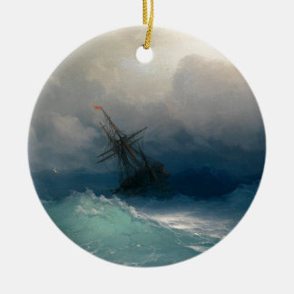 Ship on Stormy Seas, Ivan Aivazovsky Christmas Ornament