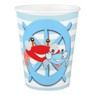 Ships Ahoy Its a Boy Crab Baby Shower Paper Cups