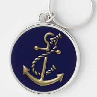 Ship's Anchor Nautical Marine-Themed Gift Silver-Colored Round Key Ring
