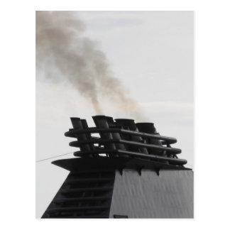 Ships funnel emitting black smoke in the sky postcard