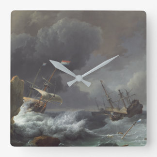 Ships in Distress off a Rocky Coast Square Wall Clock