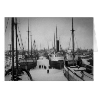 Ships on the Belle River Marine City Michigan Card