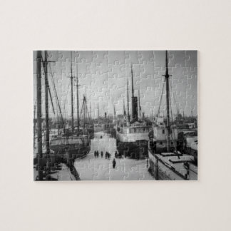 Ships on the Belle River Marine City Michigan Jigsaw Puzzle