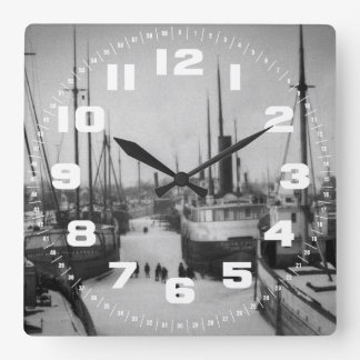 Ships on the Belle River Marine City Michigan Square Wall Clock