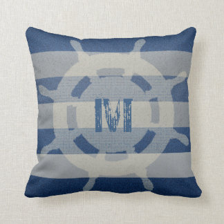 Ship's Wheel Faded Nautical Pillow