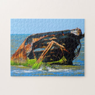 Shipwreck Abstract Blue Jigsaw Puzzle