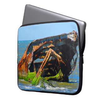 Shipwreck Abstract Blue Laptop Sleeve