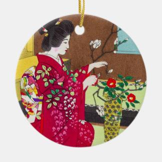 Shiro Kasamatsu Ikebana japan flowers lady scene Round Ceramic Decoration