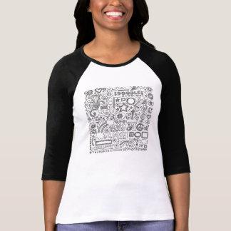 Shirt with mango raglan, black person and white