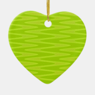 Shocking Bright Green Chartreuse Zigzag Pattern Christmas Ornament