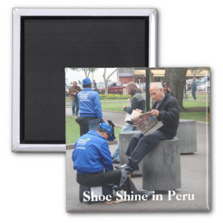 Shoe Shine in the Park in Lima, Peru Square Magnet