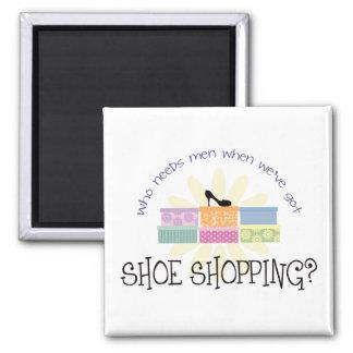 Shoe Shopping Square Magnet